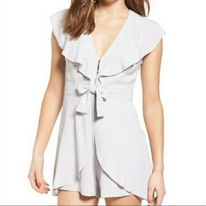 ASTR the Label Ruffle Tie Front Romper Lilac Grey